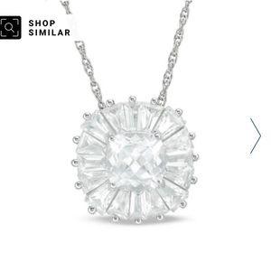 NIB New Zales Sapphire Pendant 925 Silver Necklace